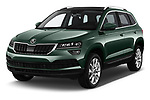 2018 Skoda Karoq Style 5 Door SUV angular front stock photos of front three quarter view