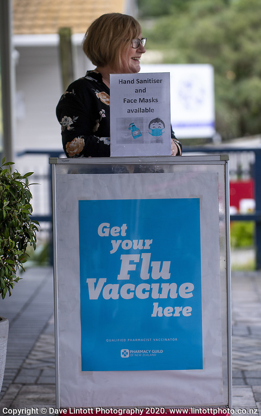 Nagio Village Pharmacy retail manager Donna Gamble working at 4.15pm, Wednesday, during lockdown for the COVID19 pandemic in Wellington, New Zealand on Wednesday, 22 April 2020. Photo: Dave Lintott / lintottphoto.co.nz
