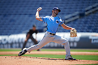 Charlotte Stone Crabs starting pitcher Hunter Wood (3) delivers a pitch during a game against the Clearwater Threshers on April 13, 2016 at Bright House Field in Clearwater, Florida.  Charlotte defeated Clearwater 1-0.  (Mike Janes/Four Seam Images)