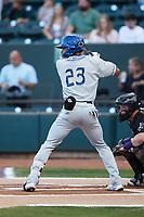 Zach Daniels (23) of the Asheville Tourists at bat against the Winston-Salem Dash at Truist Stadium on September 17, 2021 in Winston-Salem, North Carolina. (Brian Westerholt/Four Seam Images)