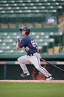 GCL Twins second baseman Hunter Lee (89) hits a single during the first game of a doubleheader against the GCL Orioles on August 1, 2018 at CenturyLink Sports Complex Fields in Fort Myers, Florida.  GCL Twins defeated GCL Orioles 7-6 in the completion of a suspended game originally started on July 31st, 2018.  (Mike Janes/Four Seam Images)