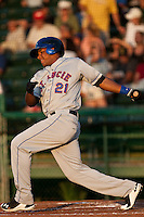 Cesar Puello #21 of the St. Lucie Mets during a game against the Daytona Cubs at Jackie Robinson Ballpark on May 25, 2011 in Daytona Beach, Florida. (Scott Jontes / Four Seam Images)