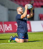 13th September 2020; AJ Bell Stadium, Salford, Lancashire, England; English Premiership Rugby, Sale Sharks versus Bath;  Akker van der Merwe of Sale Sharks warms up on his knees practicing line out techniques