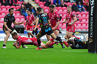 Josh Helps of Scarlets scores his sides eighth try during the Guinness Pro14 Round 02 match between the Scarlets and Zebre Rugby at the Parc Y Scarlets Stadium in Llanelli, Wales, UK. Saturday 12 October 2019