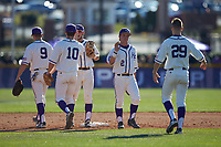 Hunter Lee (2) of the High Point Panthers celebrates with teammates following their victory over the NJIT Highlanders at Williard Stadium on February 19, 2017 in High Point, North Carolina. The Panthers defeated the Highlanders 6-5. (Brian Westerholt/Four Seam Images)