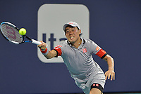 MIAMI GARDENS, FL - MARCH 29: (NO SALES TO NEW YORK POST) Stefanos Tsitsipas of Greece defeats Kei Nishikori of Japan on day 8 of the Miami Open on March 29, 2021 at Hard Rock Stadium in Miami Gardens, Florida<br /> <br /> <br /> People:  Kei Nishikori