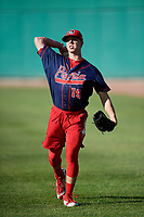Peoria Chiefs pitcher Thomas St. Clair (19) warms up before a game against the Bowling Green Hot Rods on September 15, 2018 at Bowling Green Ballpark in Bowling Green, Kentucky.  Bowling Green defeated Peoria 6-1.  (Mike Janes/Four Seam Images)