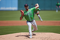Gwinnett Stripers starting pitcher Kyle Muller (50) in action against the Charlotte Knights at Truist Field on May 9, 2021 in Charlotte, North Carolina. (Brian Westerholt/Four Seam Images)