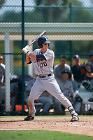Detroit Tigers right fielder Ulrich Bojarski (30) at bat during a Florida Instructional League game against the Pittsburgh Pirates on October 2, 2018 at the Pirate City in Bradenton, Florida.  (Mike Janes/Four Seam Images)