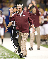 Virginia Tech head coach Frank Beamer calls a play during Sugar Bowl game at Mercedes-Benz SuperDome in New Orleans, Louisiana on January 3rd, 2012.  Michigan defeated Virginia Tech, 23-20 in first overtime.