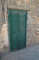 Greek green door