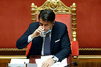Italian premier Giuseppe Conte drinking a grass of water after his speech to inform the Senate about the last Covid-19 decree.<br /> Rome (Italy), October 21st 2020<br /> Photo Samantha Zucchi Insidefoto