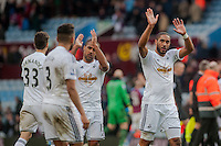 BIRMINGHAM, ENGLAND - MARCH 21:Ashley Williams of Swansea City  applauds fans  during the Barclays Premier League match between Aston Villa and Swansea City at Villa Park on March 21, 2015 in Birmingham, England. (Photo by Athena Pictures/Getty Images)