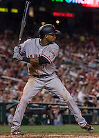 6 August 2016: San Francisco Giants third baseman Eduardo Nunez in action against the Washington Nationals at Nationals Park in Washington, DC. The Giants defeated the Nationals 7-1 to even their series at one game apiece. Mandatory Credit: Ed Wolfstein Photo *** RAW (NEF) Image File Available ***