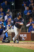 Cleveland Indians Jose Ramirez (11) bats in the ninth inning during Game 4 of the Major League Baseball World Series against the Chicago Cubs on October 29, 2016 at Wrigley Field in Chicago, Illinois.  (Mike Janes/Four Seam Images)