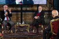Renzo Piano, Umberto Eco e Giorgio Napolitano<br /> Roma 28-11-2014 Quirinale. Incontro 'L'Europa della cultura'.<br /> Meeting Europe of culture at Quirinale<br /> Photo Samantha Zucchi Insidefoto