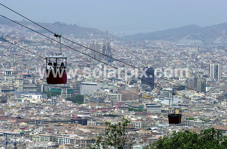 **ALL ROUND PICTURES FROM SOLARPIX.COM**.**WORLDWIDE SYNDICATION RIGHTS**.General Views of Barcelona, Spain..This pic:   Views of the city from the chair lift - cable car which travels up to the Olympic Village..JOB REF:   2733   AB1       DATE:  23.07.06.**MUST CREDIT SOLARPIX.COM OR DOUBLE FEE WILL BE CHARGED**.**ONLINE USAGE FEE  GBP 50.00 PER PICTURE - NOTIFICATION OF USAGE TO PHOTO @ SOLARPIX.COM**.**CALL SOLARPIX : +34 952 811 768 or LOW RATE FROM UK 0844 617 7637**