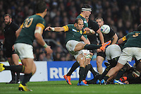 Fourie du Preez of South Africa sends up a box kick during the Semi Final of the Rugby World Cup 2015 between South Africa and New Zealand - 24/10/2015 - Twickenham Stadium, London<br /> Mandatory Credit: Rob Munro/Stewart Communications