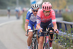 Julius Van den Berg (NED) EF Pro Cycling and Anthony Roux (FRA) Groupama-FDJ attack from the 21 man breakaway group during Stage 12 of the Vuelta Espana 2020 running 109.4km from Pola de Laviana to Alto de l'Angliru, Spain. 1st November 2020.   <br /> Picture: Luis Angel Gomez/PhotoSportGomez | Cyclefile<br /> <br /> All photos usage must carry mandatory copyright credit (© Cyclefile | Luis Angel Gomez/PhotoSportGomez)