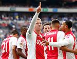 Nederland, Amsterdam, 10 mei 2015<br /> Eredivisie<br /> Seizoen 2014-2015<br /> Ajax-SC Cambuur<br /> Viktor Fischer van Ajax juicht, nadat hij de 1-0 heeft gescoord.