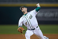 Charlotte 49ers relief pitcher Drew Morrison (14) in action against the North Carolina Tar Heels at BB&T BallPark on March 27, 2018 in Charlotte, North Carolina. The Tar Heels defeated the 49ers 14-2. (Brian Westerholt/Four Seam Images)