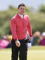 Thursday 28 May 2015; A bemused Rory McIlroy on the 18th Greeen<br /> <br /> Dubai Duty Free Irish Open Golf Championship 2015, Round 1 County Down Golf Club, Co. Down. Picture credit: John Dickson / SPORTSFILE