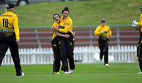 Wellington's Thamsyn Newton congratulates Wellington's Xara Jetly for dismissing Auckland's Saachi Shahri during the women's Hallyburton Johnstone Shield cricket match between the Wellington Blaze and Auckland Hearts at Basin Reserve in Wellington, New Zealand on Sunday, 17 November 2019. Photo: Dave Lintott / lintottphoto.co.nz
