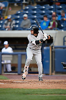 Clinton LumberKings designated hitter Joe Rizzo (10) at bat during a game against the West Michigan Whitecaps on May 3, 2017 at Fifth Third Ballpark in Comstock Park, Michigan.  West Michigan defeated Clinton 3-2.  (Mike Janes/Four Seam Images)