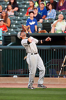 Wisconsin Timber Rattlers first baseman Alan Sharkey (18) catches a popup during a game against the Peoria Chiefs on August 21, 2015 at Dozer Park in Peoria, Illinois.  Wisconsin defeated Peoria 2-1.  (Mike Janes/Four Seam Images)