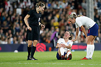 Abbie McManus of England Women is feeling a knock during the Women's international friendly match between England Women and Australia at Craven Cottage, London, England on 9 October 2018. Photo by Carlton Myrie / PRiME Media Images.