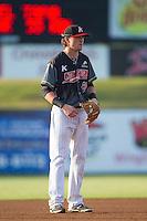 Kannapolis Intimidators third baseman Trey Michalczewski (27) on defense against the Asheville Tourists at CMC-NorthEast Stadium on July 12, 2014 in Kannapolis, North Carolina.  The Tourists defeated the Intimidators 7-5 in 15 innings.  (Brian Westerholt/Four Seam Images)
