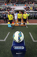 Pictured: Match referee lead the teams out of the tunnel. Saturday 23 August 2014<br /> Re: Premier League, Swansea City FC v Burnley at the Liberty Stadium, south Wales