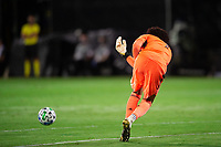 LAKE BUENA VISTA, FL - AUGUST 11: Pedro Gallese #1 of Orlando City SC passes the ball during a game between Orlando City SC and Portland Timbers at ESPN Wide World of Sports on August 11, 2020 in Lake Buena Vista, Florida.