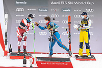 29th December 2020; Stelvio, Bormio, Italy; FIS World Cup Super for Men;   left to right: second placed Vincent Kriechmayr of Austria winner Ryan Cochran Siegle of the USA third placed Adrian Smiseth Sejersted of Norway during the winners ceremony