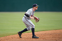 Rome Braves shortstop Marcus Mooney (2) on defense against the Kannapolis Intimidators at Kannapolis Intimidators Stadium on April 12, 2017 in Kannapolis, North Carolina.  The Braves defeated the Intimidators 4-3.  (Brian Westerholt/Four Seam Images)
