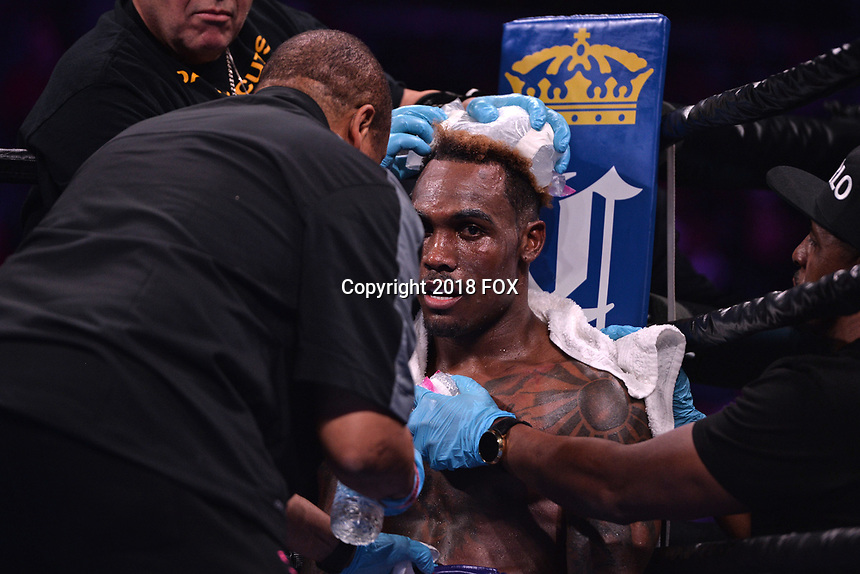 """BROOKLYN, NY - DECEMBER 22: American boxer Jermall Charlo is attended to between rounds as he fights for the WBC Interim Middleweight Championship during the Fox Sports and Premier Boxing Champions  December 22 """"PBC on Fox"""" Fight Night at the Barclays Center on December 22, 2018 in Brooklyn, New York. (Photo by Anthony Behar/Fox Sports/PictureGroup)"""
