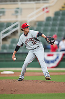 Hickory Crawdads relief pitcher Nick Gardewine (12) in action against the Kannapolis Intimidators at CMC-Northeast Stadium on April 17, 2015 in Kannapolis, North Carolina.  The Crawdads defeated the Intimidators 9-5 in game one of a double-header.  (Brian Westerholt/Four Seam Images)