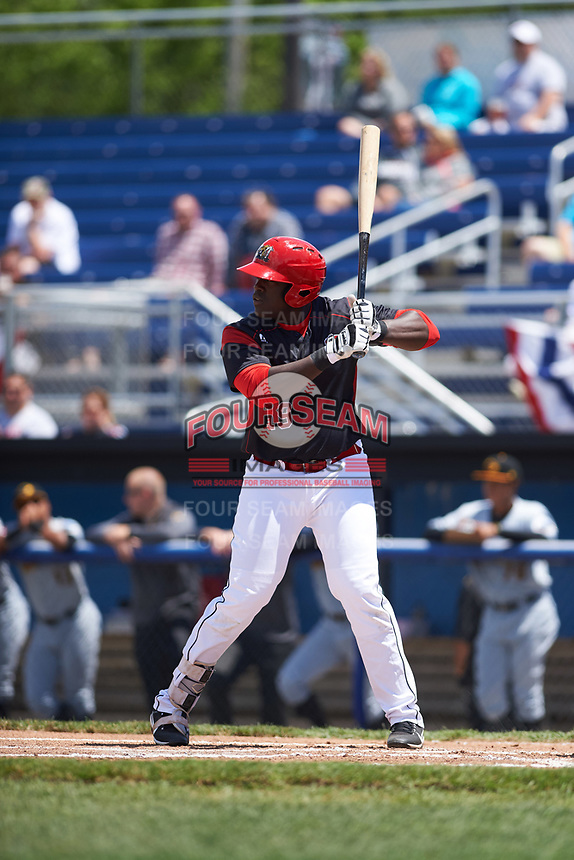 Batavia Muckdogs first baseman Lazaro Alonso (19) at bat during a game against the West Virginia Black Bears on June 25, 2017 at Dwyer Stadium in Batavia, New York.  West Virginia defeated Batavia 6-4 in the completion of the game started on June 24th.  (Mike Janes/Four Seam Images)