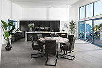 BNPS.co.uk (01202 558833)<br /> Pic: Rohrs&Rowe/BNPS<br /> <br /> Pictured: Kitchen/dining area. <br /> <br /> An exceptional contemporary clifftop home with panoramic views of not one, but two beaches is on the market for offers over £2m.<br /> <br /> Seascape is a brand new home, completed earlier this year and never lived in, that has a frontline spot next to Porthpean Beach and Duporth Beach.<br /> <br /> The sleek four-bedroom home in the village of Porthpean, Cornwall, has incredible sea views from almost every room, a full width balcony and a gate in the garden straight onto the South West Coast Path.