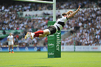 Chris Ashton (Toulon & England) of Barbarians performs his swallow dive to score a try during the Quilter Cup match between England and Barbarians at Twickenham Stadium on Sunday 27th May 2018 (Photo by Rob Munro/Stewart Communications)