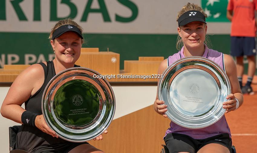 Paris, France, 7 june 2021, Tennis, French Open, Roland Garros,  Womans Wheelchair doubles final:  Dide de Groot (NED) and Aniek van Koot (NED) (L) winners<br /> Photo: tennisimages.com