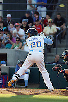 Myrtle Beach Pelicans outfielder Teodoro Martinez #20 during a game against the Wilmington Blue Rocks at Tickerreturn.com Field at Pelicans Ballpark on April 8, 2012 in Myrtle Beach, South Carolina. Wilmington defeated Myrtle Beach by the score of 3-2. (Robert Gurganus/Four Seam Images)