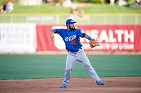 Luis Guillorme (13) of the Las Vegas 51s on defense against the Salt Lake Bees at Smith's Ballpark on May 7, 2018 in Salt Lake City, Utah. The 51s defeated the Bees 10-8. (Stephen Smith/Four Seam Images)