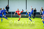 Tralee Dynamos Nemanja Samaedzic and Ian Prendergast of Killarney Athletic contest for the ball in the Denny Premier A soccer league game