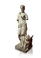 Roman statue of Nemesis. Marble. Perge. 2nd century AD. Inv no 3310 . Antalya Archaeology Museum; Turkey. Against a white background.