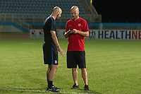 Couva, Trinidad & Tobago - Tuesday Oct. 10, 2017:  Jesse Bignami and Michael Bradley during a 2018 FIFA World Cup Qualifier between the men's national teams of the United States (USA) and Trinidad & Tobago (TRI) at Ato Boldon Stadium.