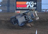 Dec. 11, 2011; Chandler, AZ, USA;  LOORRS pro lite driver Kyle LeDuc (99) crashes during the Lucas Oil Challenge Cup at Firebird International Raceway. Mandatory Credit: Mark J. Rebilas-
