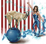 Illustrative image of female performer looking at goat balancing on sphere