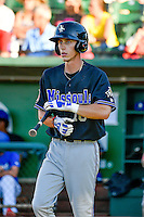 Jacy Cave (18) of the Missoula Osprey at bat against the Ogden Raptors in Pioneer League action at Lindquist Field on July 14, 2016 in Ogden, Utah. Ogden defeated Missoula 10-4. (Stephen Smith/Four Seam Images)