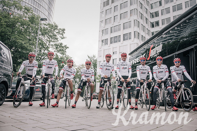 "Alberto Contador (ESP/Trek-Segafredo) & his Trek-Segafredo teammates preparing for a coffee/training-ride 1 day before the start of the 104th Tour de France 2017 <br /> ""Le Grand Départ"" in Düsseldorf/Germany"